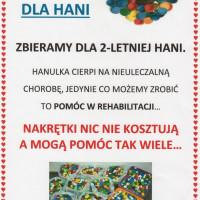 Ogłoszenie o zbiórce nakrętek dla Hani
