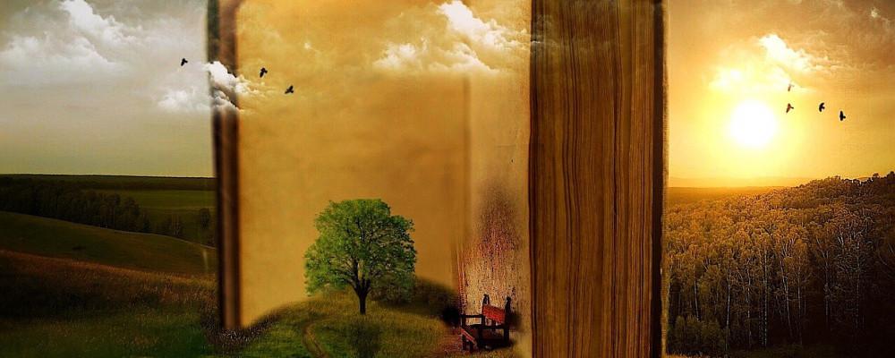 Na zdjęciu: Krajobraz na tle otwartej, stojącej książki z czerwonym krzesłem, źródło zdjęcia: Pixabay.com