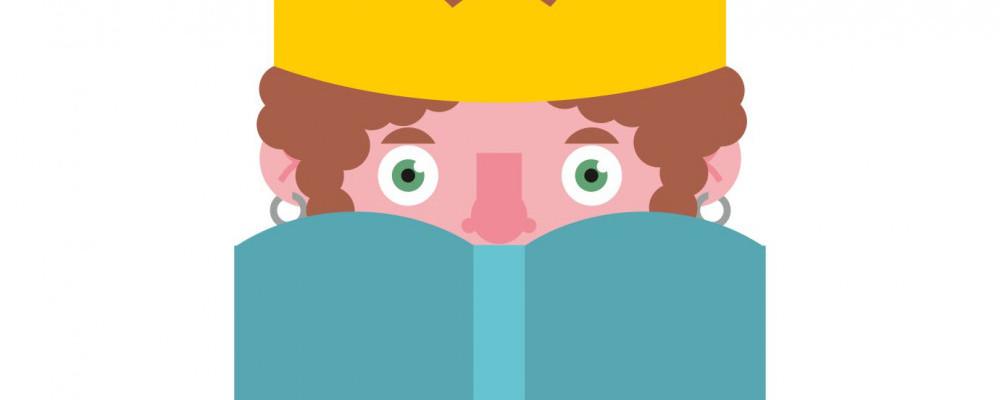 Logo konkursu: rysunkowa głowa chłopca w żółtej koronie na głowie z otwartą książką w kolorze turkusowym
