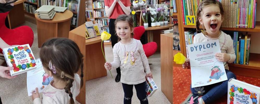 Oliwia Kwiecień - najaktywniejsza czytelniczka Biblioteki w Świeszynie